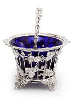 Large Victorian Silver Plated Sugar Basket with a Bristol Blue Liner (2 of 5)