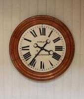 Rare 33 Inch Industrial Oak Wall Clock (2 of 10)