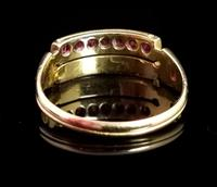 Antique Victorian Ruby, Diamond and Pearl Ring, Double Row, 15ct Gold (6 of 12)
