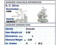 2.65ct Diamond & 0.28ct Emerald, Platinum Ship Brooch - Antique c.1910 (8 of 10)