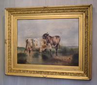 Large Oil Painting by William Perring Hollyer Titled 'Courtship' (2 of 10)