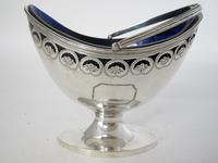 George III Oval Silver Sugar Basket with Bristol Blue Glass Liner (3 of 6)