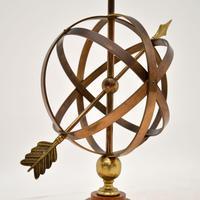 Brass & Teak Armillary Sphere Vintage Table Lamp (6 of 11)