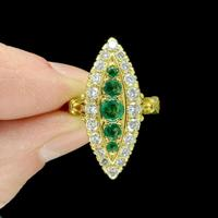 Vintage 18ct Gold Emerald & Diamond Marquise / Navette Cluster Ring c.1920s ~ With Independent Appraisal Valuation (2 of 9)