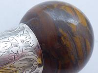 Walking Stick Cane 1924 Hallmarked Silver Collar Tigers Eye Coconut Palm Shaft (8 of 11)