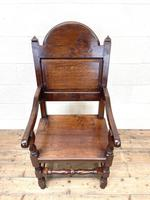Pair of Antique Oak Throne Chairs (6 of 13)