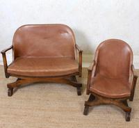 Carved Oak Leather Bucket Sofa & Chair (13 of 24)