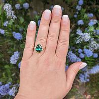 Vintage 18ct Gold Green Tourmaline & Diamond Dress Ring (8 of 13)