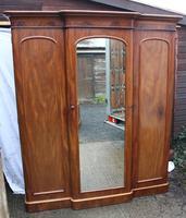 1900's Large Mahogany Mirrored 3 Door Wardrobe with Slides.