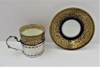 Cauldon Bone China Coffee Cup & Saucer, Silver Mount, Deakin & Francis, Birmingham 1933