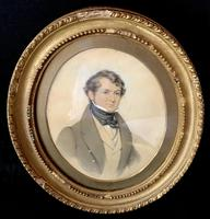 Antique Watercolour  Sketch of a Gentleman in Oval Frame (2 of 3)