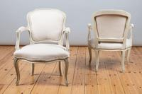 Pair of Large French Louis XV Style Painted Upholstered Armchairs (5 of 9)