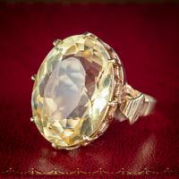 Vintage Citrine Cocktail Ring 9ct Gold Large 35ct Citrine Dated 1974 (2 of 6)