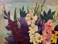 Large 19th Century French Farmhouse Impressionist Still Life Floral Oil Painting Signed (8 of 12)
