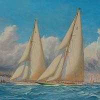 A rare painting of 1930 America's Cup racing off Newport, signed 'Harold Wyllie' (4 of 12)