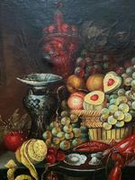 Fine Early 20thc Antique Still Life Oil Painting - Fruit & Shellfish - Minor TLC (7 of 14)