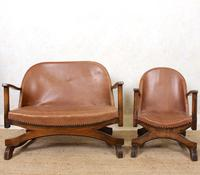 Carved Oak Leather Bucket Sofa & Chair (14 of 24)