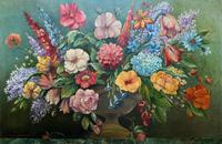 An Extraordinary Original 1952 Vintage French Still Life Of Flowers Oil Painting (2 of 11)