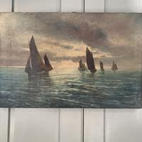 Antique marine seascape oil painting Fishing Boats with a good catch signed W Graves 1918 (3 of 11)