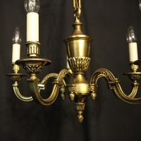 French 5 Light Gilded Brass Antique Chandelier (9 of 10)
