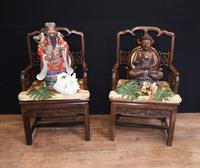 Pair Antique Chinese Armchairs Hardwood 19th Century Seat Chair (2 of 13)