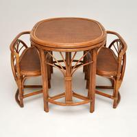Vintage 1970's Bamboo & Rattan Games Table & Chairs (10 of 12)