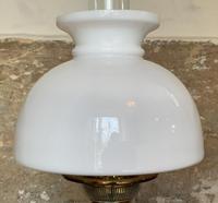 Superb Tall 19thc 'Matador' Brown Ceramic & Milky White Brass Table Oil Lamp (3 of 12)