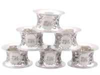 Sterling Silver Napkin Rings Set of Six - Antique Victorian 1897 (2 of 12)