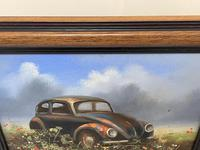 """Oil Painting """"Unloved Abandoned VW Beetle Car"""" Signed David Robert (23 of 27)"""