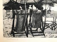 Original etching 'Sun Shades' by Rosamund Steed (Moss Fuller). Signed, inscribed and numbered 3/7. c.1960 (2 of 3)
