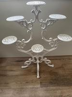Victorian 19th Century Garden Cast Iron Painted White 6 Branch Plant Stand (35 of 47)