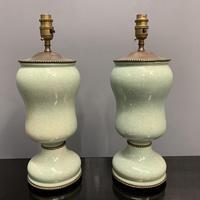 Pair of Art Deco Teal Blue Ceramic Lamps (7 of 8)