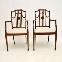 Pair of Antique Edwardian Inlaid  Mahogany Armchairs (2 of 12)
