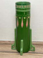 Original Art Nouveau Eichwald Pottery Green Glazed Rocket Flower Vase (2 of 23)