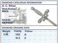1.59ct Diamond & 9ct Yellow Gold Jabot Pin 'Sword' Brooch - Antique Edwardian (8 of 9)