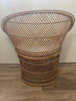Vintage Boho Mid 20th Century Rounded Peacock Rattan Chair with Cushion (11 of 15)