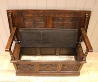 Late Victorian Solid Carved Oak Monks Bench (6 of 12)