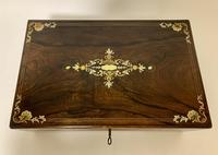 Antique Victorian Rosewood Abalone Mother of Pearl Inlaid Writing Slope Box (13 of 13)