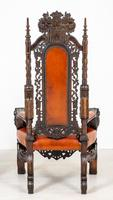 Superb Pair of Oak Throne Chairs (2 of 14)
