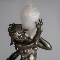 Stunning 19th Century French Silvered Spelter Figural Lamp Sculpture, Signed Auguste Moreau (11 of 11)