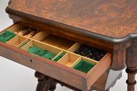 Antique Victorian Burr Walnut Games & Work Table (11 of 14)