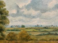 Original 20th Century Vintage English Farmland Country Landscape Oil on Canvas Painting (5 of 14)