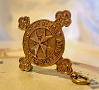 Victorian Pocket Watch Chain Fob 1890s 10ct Rose Gold Filled The St John Ambulance Fob