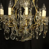 French Gilded Bronze & Crystal 11 Light Birdcage Chandelier (2 of 10)