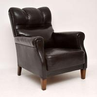 Pair of Antique Swedish Leather Armchairs (5 of 10)