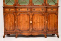 Antique Yew Wood Sheraton Style Breakfront Bookcase (4 of 12)
