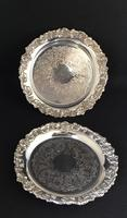 Pair  of Chased Silver Plated Card Trays