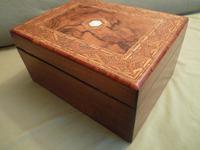 Large Figured Walnut Inlaid Jewellery Box + Tray c.1875 (5 of 12)
