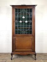 Antique Arts & Crafts Glazed Mahogany Display Cabinet