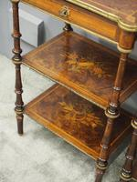 Pair of Victorian Marquetry Burr Walnut Etageres (5 of 12)
